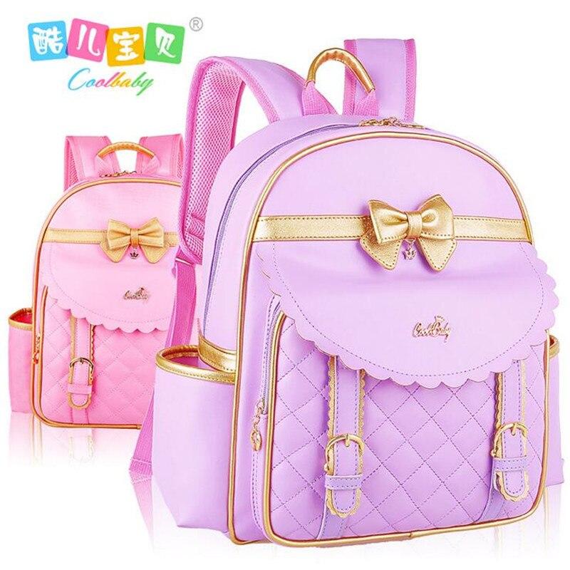 COOL bébé chaud pu cuir jetable sac à dos sac fille 1-3-6 grade étanche à l'eau enfants sac à dos filles sac d'école livraison gratuite
