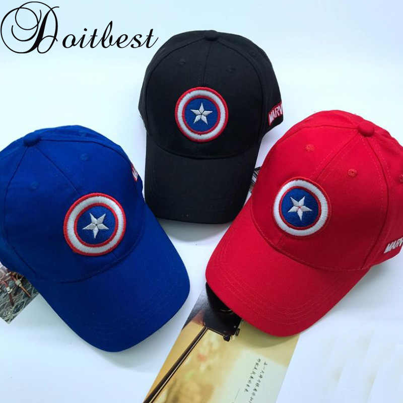 Doitbest 3-8 Y Captain America Children Hip Hop Solid Baseball Cap Summer  kids Sun 6b84df8e9a47