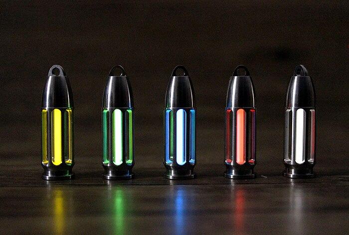 TC4 titane CNC creux balle Tritium Tube auto-lumineux pendentif porte-clés Tritium gaz Signal lumineux porte-clés EDC Multi outils