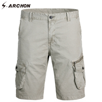 S.ARCHON Summer Classic Casual Shorts Men Cotton Loose Cargo Shorts Zipper Multi Pockets Simple Beach Work Shorts For Men
