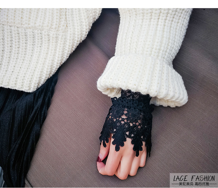 Women's Accessories Good New Women Fake Arm Sleeves Organ Pleated Cuff Korean Beautiful Goddess Lace Hollow Hook Accessories Outdoor Apparel Arm Warmers Apparel Accessories