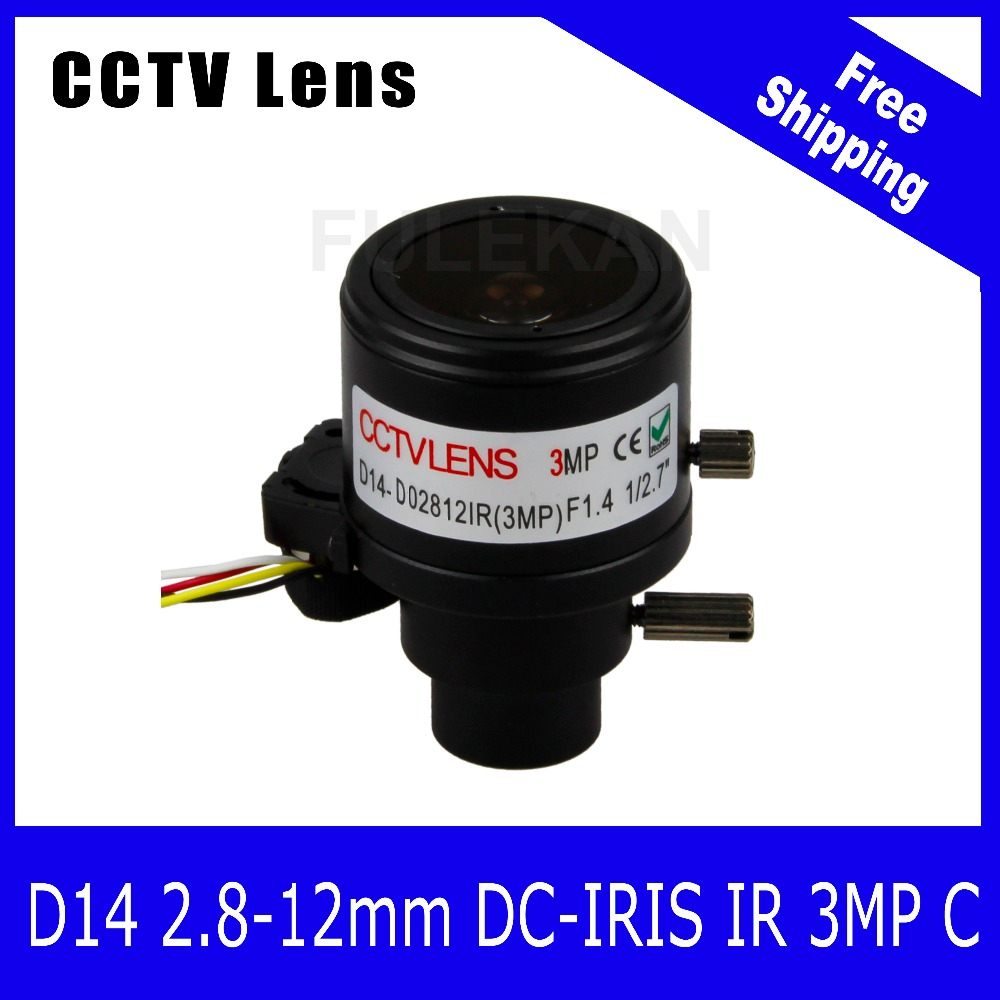 3Megapixel 1/2.7 inch Varifocal Lens 2.8-12mm D14 Mount with DC-IRIS For 720P/1080P/3MP IP/AHD/CVI/TVI CCTV Camera Free Shipping 8megapixel varifocal cctv 4k lens 1 1 8 inch 3 6 10mm cs mount dc iris for sony imx178 imx274 box camera 4k camera free shipping