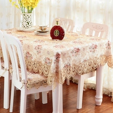 Table Cloth European Flower tablecloth Party Wedding Decoration Raised Blossom Flocked Damask Runner Cover