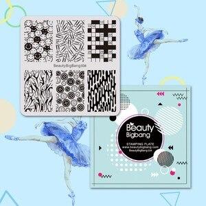 Image 5 - Beauty bigbang plaque destampage dongles, plaque destampage, avec clips, sourire rayé, motifs, en acier inoxydable, Art de manucure, FL0045 6A