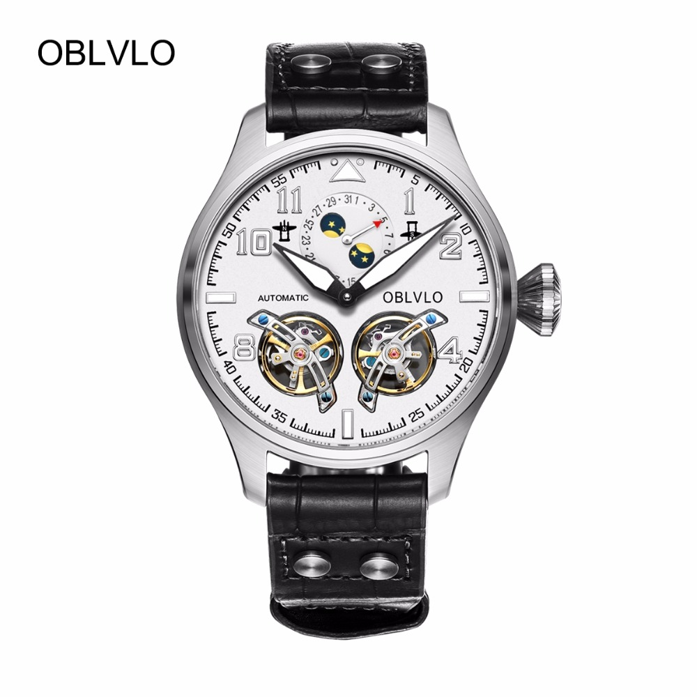 цена OBLVLO Military Watches for Men Luminous Steel Watch Calendar Tourbillon Automatic Watches Genuine Leather Strap OBL8232