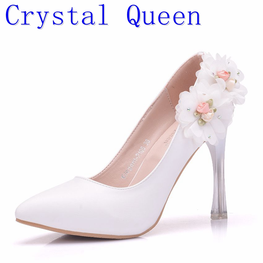 Crystal Queen Woman shoes Closed Toe Mid Heels Comfortable Flowers Pumps Lace Bride Wedding Bridal Shoes Woman High Heels woman shoes 014 ip white ivory lace shoes high heel pumps women wedding shoes for bride comfortable bridal heels with platform