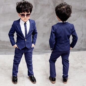 6f202c4de Traje de boda para niños camisas de manga larga 2-8 años niños trajes y  Blazers 3 piezas hermoso niño conjunto de ropa para niños nuevo