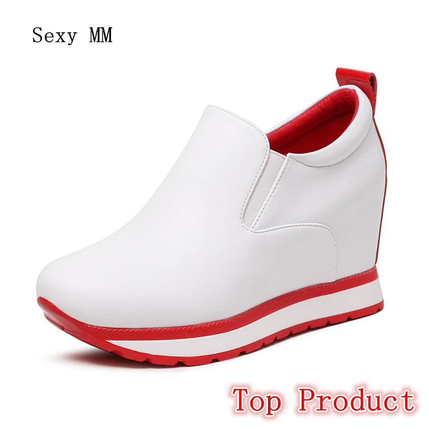 Genuine Leather Wedges Slip On Shoes Women Flats Loafers Wedge Casual Height Increasing Flat Walking Shoes Plus Size 34 - 40 genuine leather flats women loafers woman slip on shoes casual skate walking flat shoes plus size 34 40 41 42 43