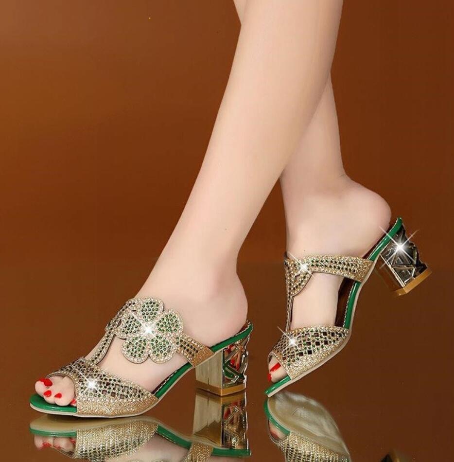 Womens Mesh Crystal Heels Peep Toe Summer Fashion Slip On Slippers Shoes  Size