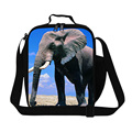 New Design Elephant Pattern Children Lunch Bag 3D Animals Printed Lunch Box Men Small Casual Travel Picnic Bag Christmas Gift