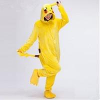 Pikachu Unisex Adult Flannel Hooded Pajamas Christmas Cosplay Cartoon Animal Onesie Winter Pajama Women Man Lovely