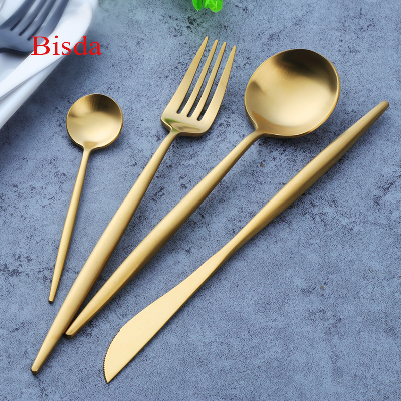 Western Gold Plated Tableware Set Matte Black Cutlery Set 18/8 Stainless Steel Knives Fork Dinnerware Set Western Food Set