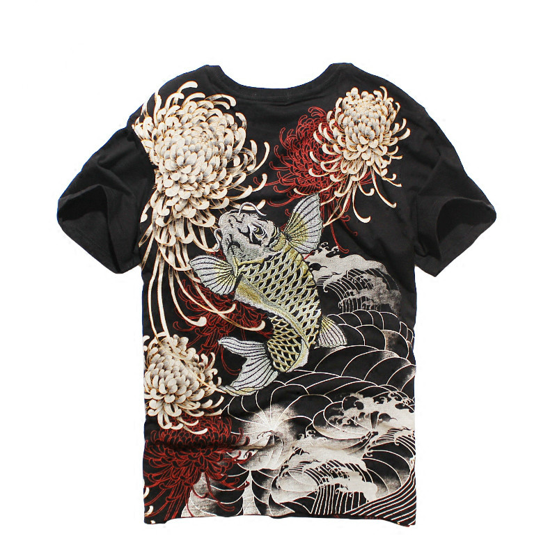 Printemps Été de chemise femme et Hommes de Nouveau Carpe Brodé courtes manches T-Shirt Harajuku T-shirt Lâche chemises grandes tailles