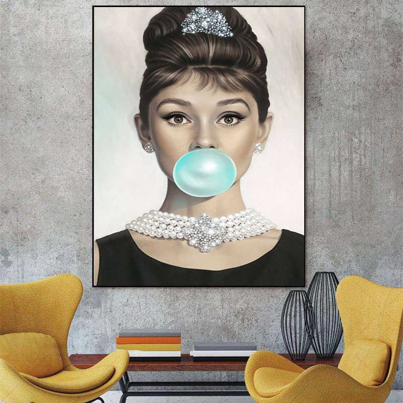 MUTU Canvas Painting Prints Audrey Hepburn Blow blue bubbles Quotes Wall Art Posters Wall Pictures for Bedding Room Home Decor