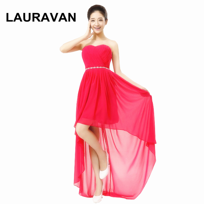High Fashion Special Occasions Robe Soiree Short Front Long Back Fuchsia Blue Bridesmaid Dresses Hot Pink Dress Chiffon 2019