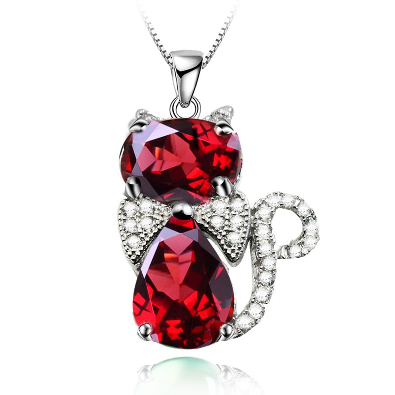 Natural Red Garnet Pendant Necklace 925 Sterling silver Lovely Cat Kitty Woman Fine Elegant Jewelry Handmade