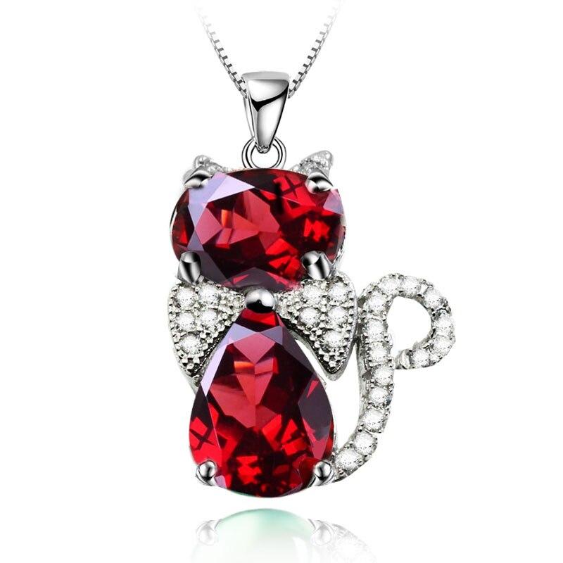 Naturel rouge grenat pendentif collier 925 en argent Sterling belle chat Kitty femme Fine élégante bijoux fait à la main pierre de naissance cadeau