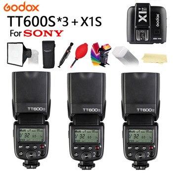 3PCS Godox TT600S 2.4G Wireless HSS TTL Camera Flash Speedlite + X1T-S Trigger for Sony A77II A7RII A7R A58 A99 Cameras