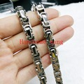Wholesale/Retail 5/6/8MM Fashion Men's Heavy Stainless Steel Jewelry Silver Byzantine Chain Necklace/Bracelet 7-40inch Choose
