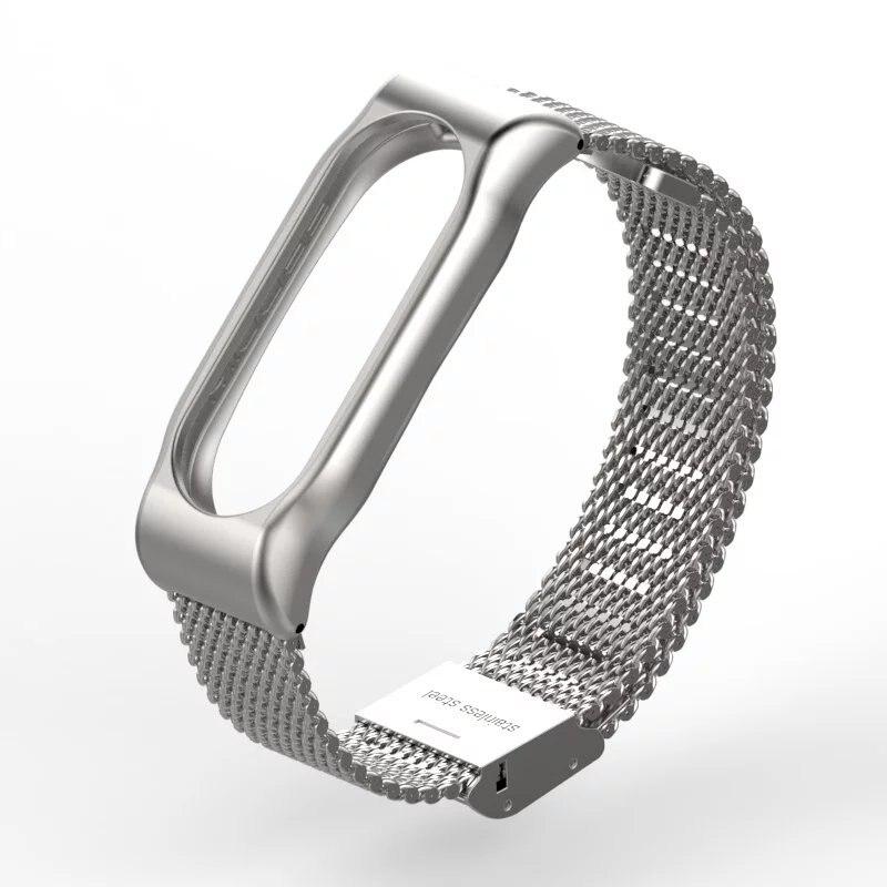 imágenes para 2017 nueva correa de metal para xiaomi mi banda 2 sin tornillos 2 pulseras de acero inoxidable pulsera para miband reemplazar accesorios