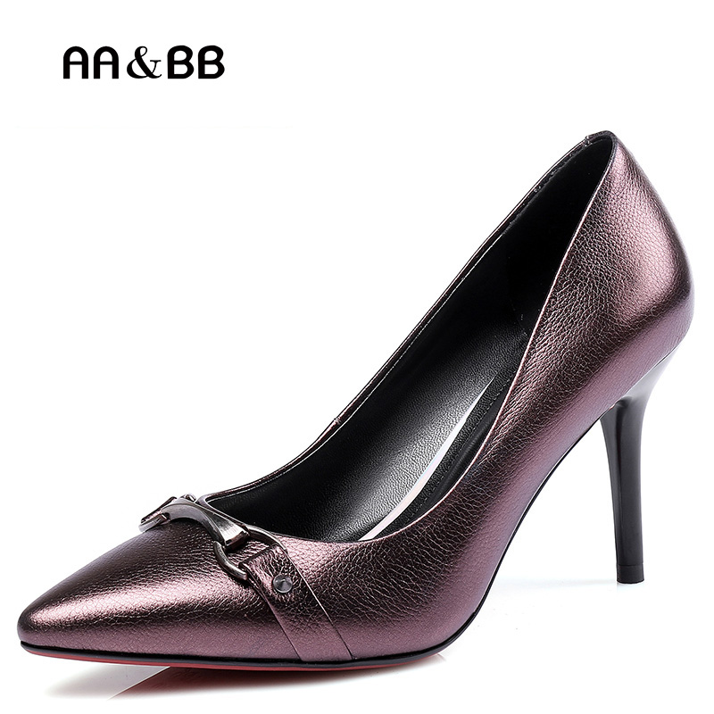 AA&BB new buckle leather high heels women, purple fine with lychee sexy shoes, white-collar professional pointed high heels professional new silver plated trumpet bb keys with monel valves horn case