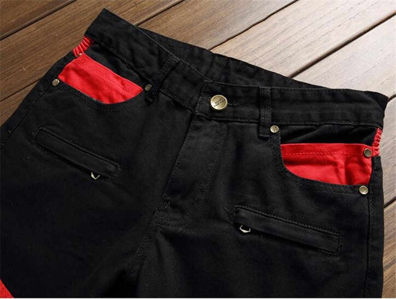 09166602 ... Fashion high quality patchwork black red patch jeans for men with zipper  slim straight stretch bikers ...