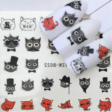 1 Pcs Hat the Cat False Nail Tips Color Card Practice Display Tools Transparent White Buckle Ring Manicure Nail Art Tool(China)