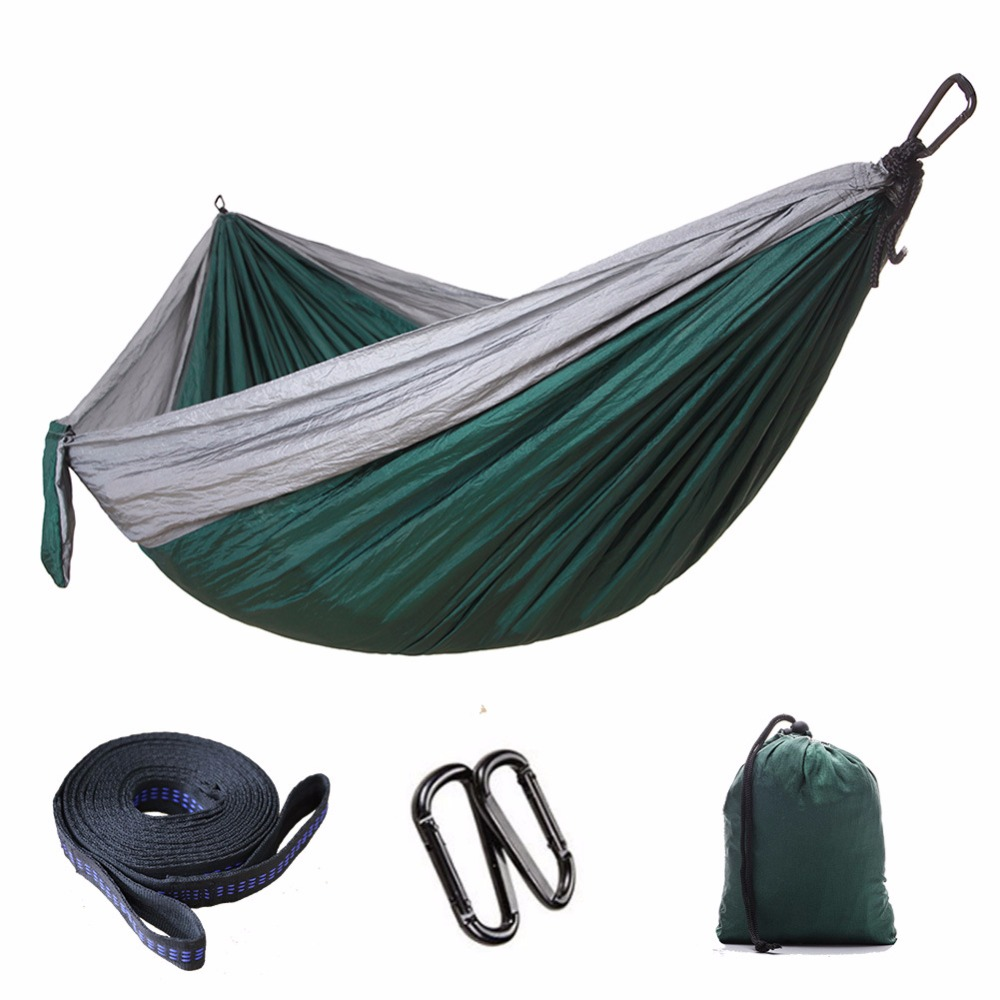 Portable Nylon Parachute Hammock Camping Survival Garden Hunting Leisure Hamac Travel Double Person Hamak wholesale portable nylon parachute double hammock garden outdoor camping travel survival hammock sleeping bed for 2 person
