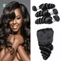 Brazilian Loose Wave With Closures 4*4 Natural Brazilian Hair Loose Wave 4 Bundles 6A Human Hair Weave Free Part
