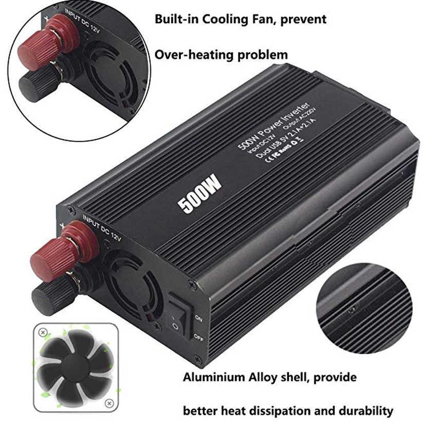 500 W Mobil Power Inverter DC 12 V untuk AC 110 V/220 V Mobil Converter dengan 4.2A Dual USB dan 2 AC Outlet untuk Smartphone, tablet