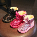 Winter Hot Sale Bling Glitter Sequined Cloth Thickening Anti-slip Solid Breathable Keep Warm Waterproof Girls Fashion Snow Boots
