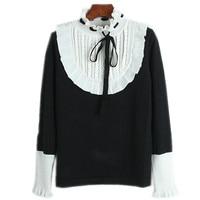 Korea Sweater 2018 Winter OL Style Women Fashion Sweater Runway Sweater Lacing Collar Belt Warm Pullovers Female Knitted Sweater