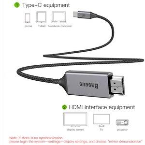 Image 2 - Baseus usb c hdmi cabo 4k 60hz tipo c para hdmi cabo adaptador de extensão para huawei p30 p40 pro samsung s20 s10 s9 oneplus 7