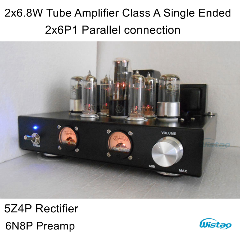 IWISTAO Tube Amplifier Single-ended Class A 6P1 Parallel Power Stage 2x6.8W 6N8P Preamp 5Z4P Rectifier Natural Sweet HIFI Audio iwistao hifi hybrid tube headphone amplifier class a 2p2 preamp fet irf540 power stage aluminum casing