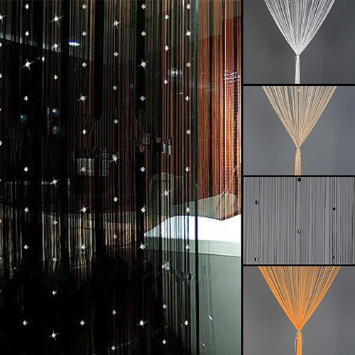 Home Decor Door Window Rhinestone Beads Tassel Screen Panel Beaded String Curtain