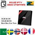 H96 Pro + Android 6.0 Caixa de TV Árabe IPTV Francês Holandês Sueco europa 1700 Canais IPTV Amlogic S912 3G/32G H.265 4 K Set Top caixa