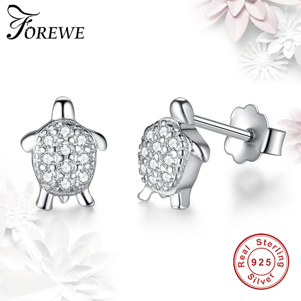 FOREWE Lovely Real 925 Sterling Silver Cubic Zirconia Tortoise Stud Earrings For Women Girls Genuine Sterling-silver-jewelry