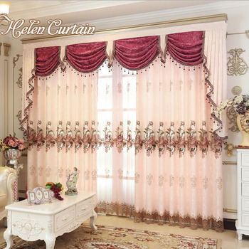Helen Curtain Pink Gold-Brown Embroidered Beads Curtains for Living Room Luxury European Style Sheer Curtains Valance V-0622