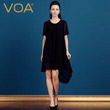 VOA brief elegant silk georgette mini dress black color stitching tee asymmetrical dresses A5053