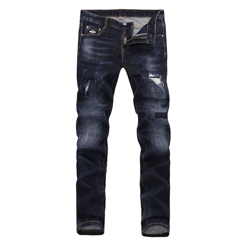 Nostalgia Dark Color Fashion Mens Jeans Top Quality Skinny Fit Denim Stretch Ripped Jeans Brand Biker Jeans Men Elastic Pants 2017 fashion patch jeans men slim skinny stretch jeans ripped denim blue pants new famous brand mens elastic jeans f701