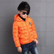 Winter Casual Kids Boys Outerwears Cotton Short Zipper Print Hooded Parkas 4  6 8 10 12 14 16 Yeasrs Childrens Clothing