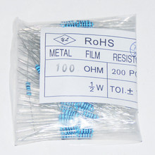 200pcs Resistor Set 0.5 Watt Rings Resistencias 100R Metal Film Resistance 100ohm 100 OHMs Resistor Pack 1/2W 1% Tolerance