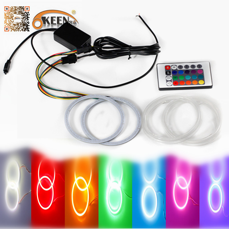 ФОТО 1 Set Multi-Color 8 9 10 11 cm RGB COB Angel Eyes Light & Halo Ring Remote Control Kit Colorful Waterproof Round Ring Head Lamp