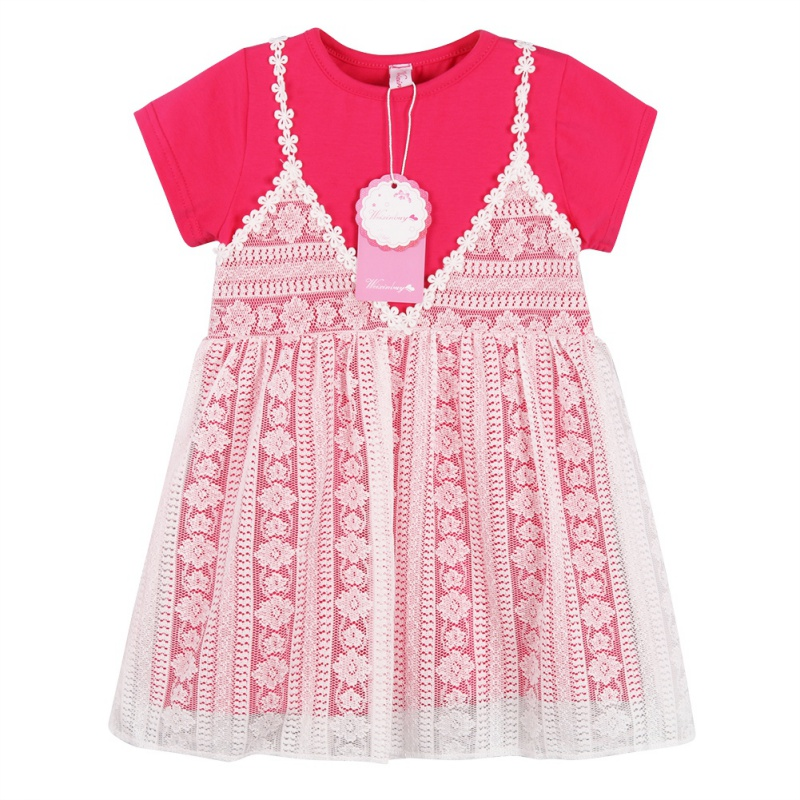 2018 New Baby Girl Dress Infant Toddle Kid Summer Clothes Sling shirt & Lace Harness Children Princess Dresses 0-4Y
