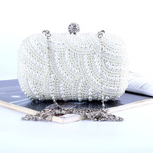 ONEFULL NEW HIGH QUALITY dinner handbag  new beaded clutch handmade ladies hand bag female brand evening party clutch evening bags pearls blue beaded bride dinner bag ladies temperament chains shoulders lady female handbag great quality