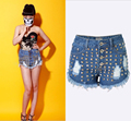 Hot European Style Women Patchwork Shorts Jeans Straight Skinny Blue Pants Fashionable Hot Girl High Waist Stretch denim Jeans