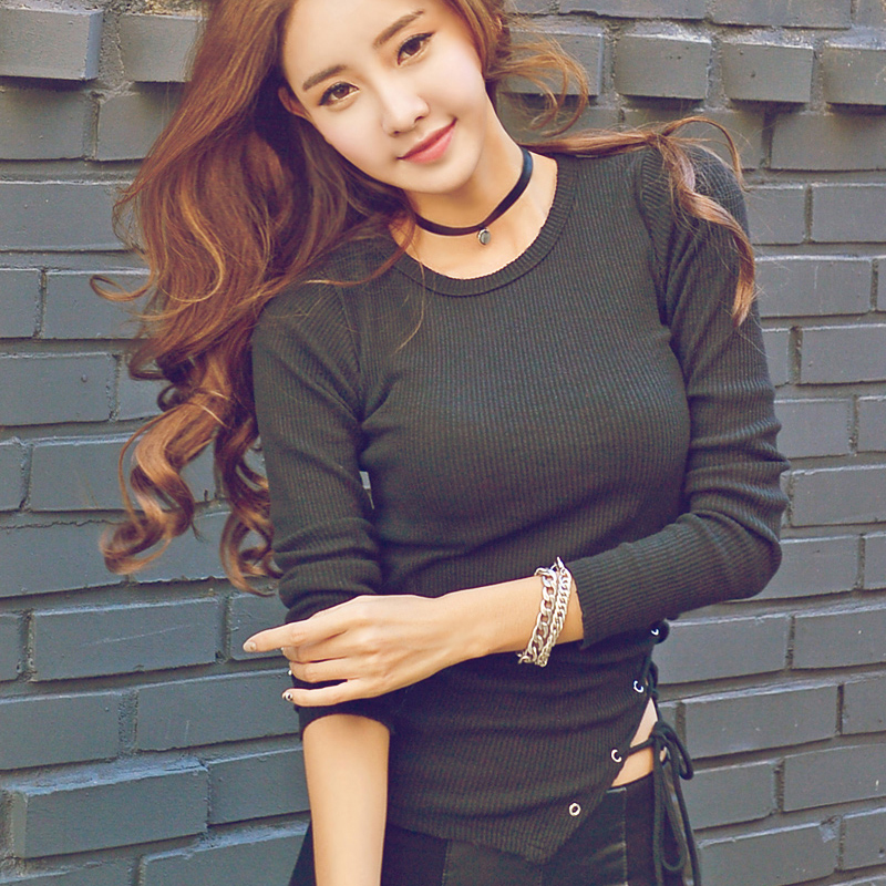 American Apparel Bow Black T-Shirt 2018 Fashion Womens Long Sleeve Tops Tshirt Women T Shirt Korean Clothes Vetement Femme Tees