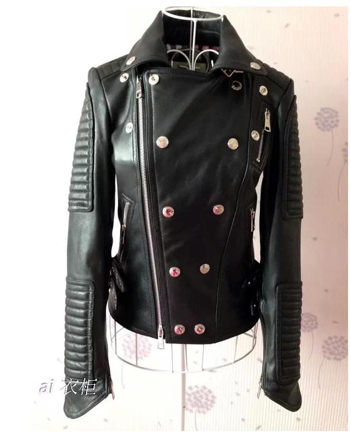 Autumn street black motorcycle genuine leather jacket womens sheepskin jackets and coats slim short clothes british