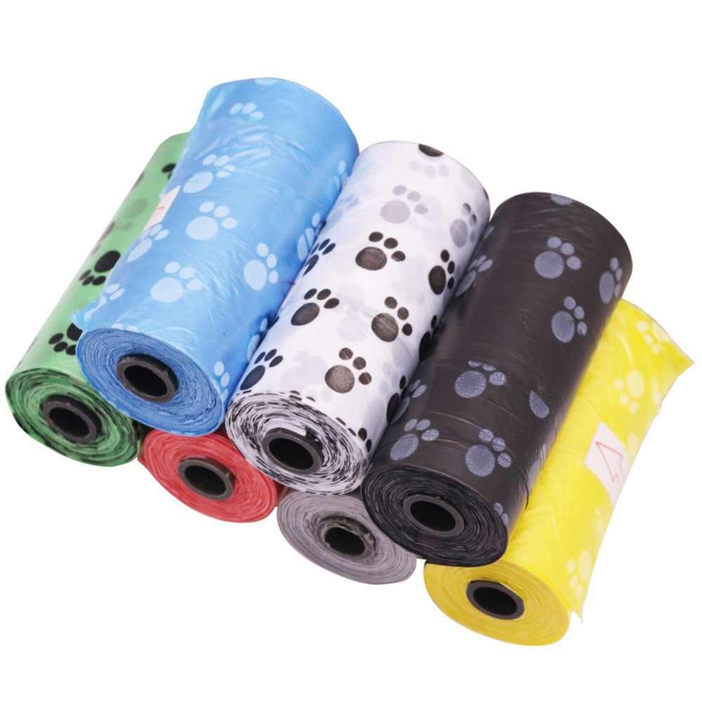 8 volumes 120 segmentos pet saco de lixo cão malote cão limpar recarga saco de lixo para animal de estimação limpeza cor padrão pegada
