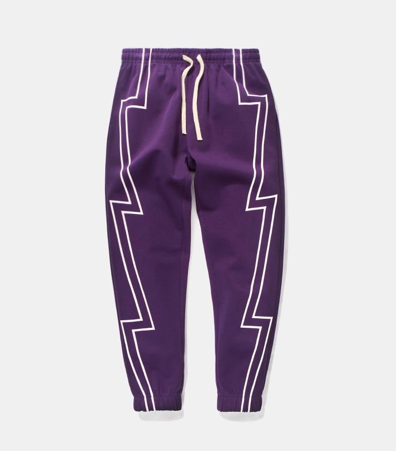 563822dcb Reflective stripe screen print sweatpants streetwear men's elastic ...